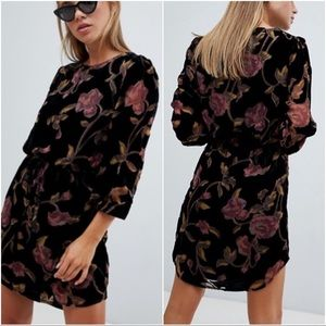 ASOS Burnout Velvet Tunic Floral Long Sleeve Dress
